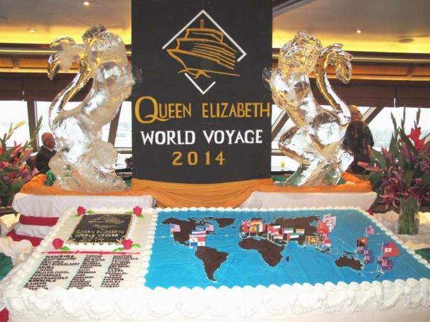 4寄港地と世界地図の特大ケーキ