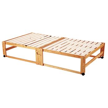 木の枠が床に均等に接するために、床に傷がつきにくく畳敷きの和室にも向く。耐荷重90kg。