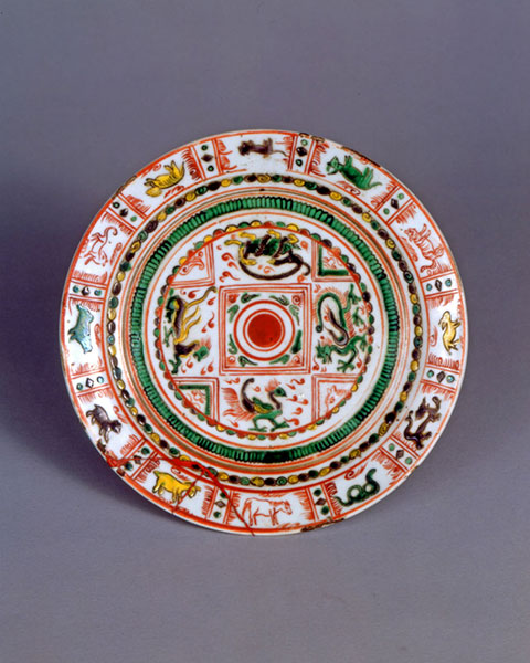 (大統院)奥田頴川作「赤絵十二支四神鏡文皿」リサイズ
