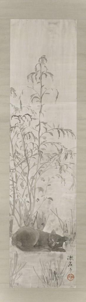漱石自筆の「あかざと黒猫図」(大正3年)。小説『吾輩は猫である』のモデルとなった初代の猫から数えて、「3代目」となった猫を描いたものという。神奈川近代文学館蔵