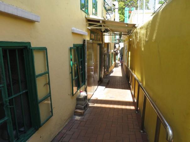 黄色の壁にグリーンの窓枠が映える路地。