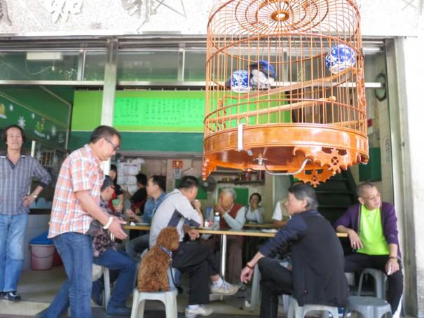 鳥だけでなくワンちゃんも。なぜか椅子にきちんと座っています。
