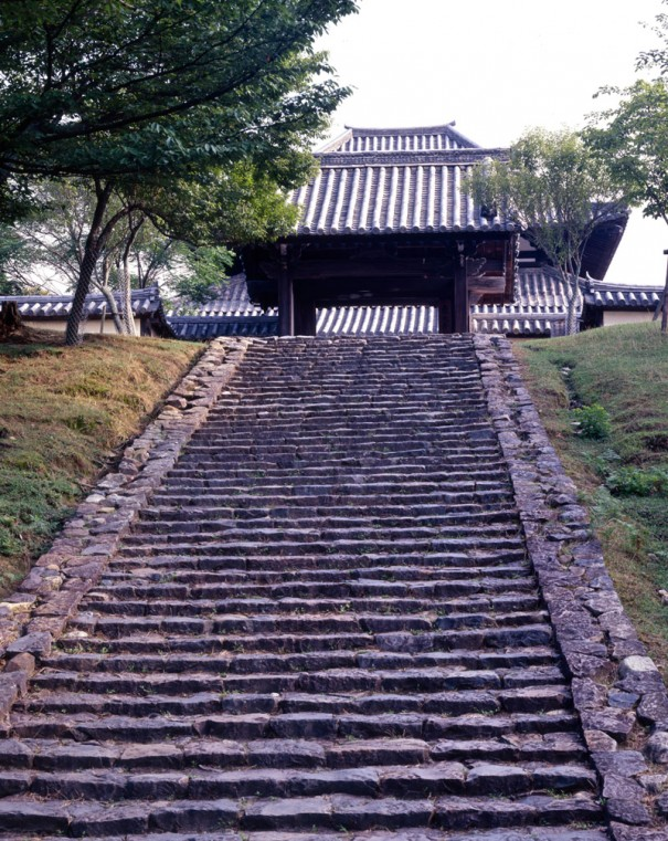 東大寺戒壇堂下の石段。入江はこの石段を何度も上り下りした。(撮影=牧野貞之)