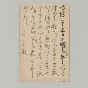 「食牛会」の開催を知らせるため漱石が書いた、野間真綱あての葉書。勢いのいい筆致からも、会の楽しさが伝わってくるようだ。写真/神奈川近代文学館蔵
