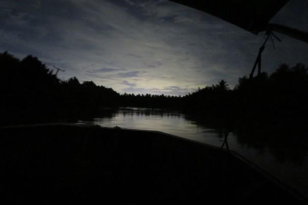 夜の川は神秘的。星空が川辺に映ることも。