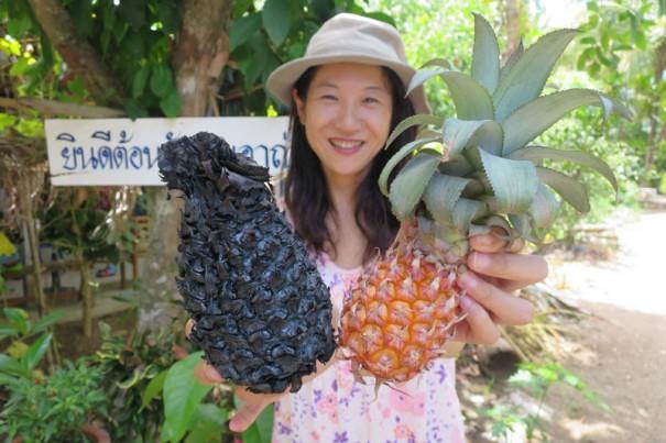 パイナップルもこの通り炭に!