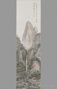 漱石自筆の「秋景山水図」(大正4年)。漱石の山水画の中でも、円熟味のある作品といわれる。写真/神奈川近代文学館所蔵
