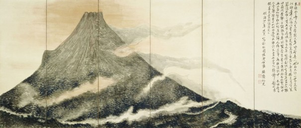 「富士山図」(左隻)〔1898年 六曲一双 清荒神清澄寺・鉄斎美術館蔵〕前期展示。