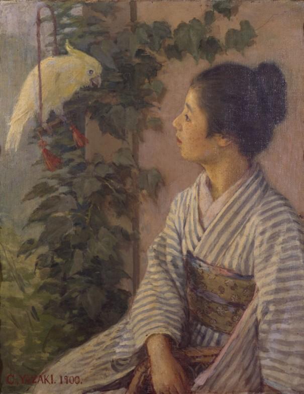 矢崎千代二≪教鵡≫〔1900年 東京藝術大学蔵〕