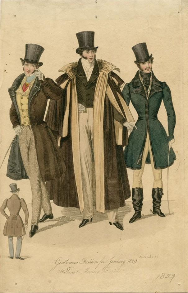 『1月の紳士の装い 午前中の散歩の装い』[1829年]