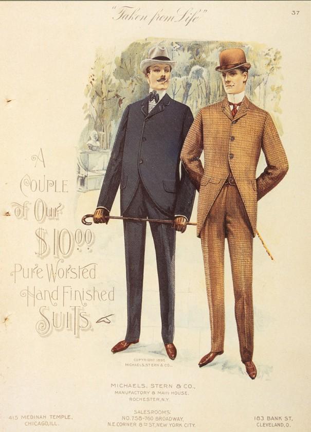 1897年に描かれたスーツの広告イラスト。ふたりとも3つボタンの上着で、フロントボタンをすべて掛けている。イラスト右の人物の上着のウエスト部分には、横に縫い目が入っている。左の人物の服がサックスーツ。