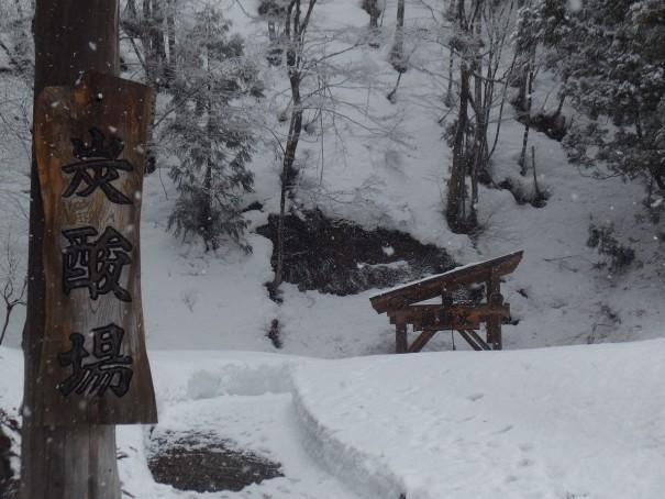 雪のなかでも歩道が整備されている。