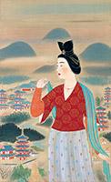 安田靫彦《飛鳥の春の額田王》〔1964年 滋賀県立近代美術館所蔵〕4月19日~5月15日展示。