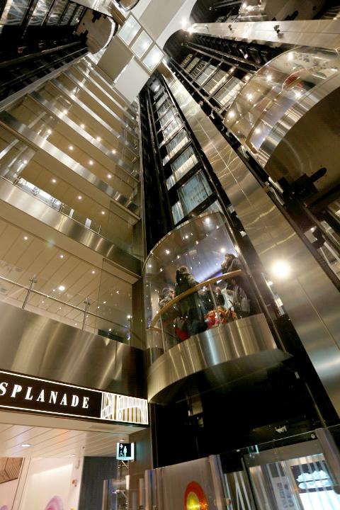 船内には吹き抜けのエレベーターホールはガラス張りのエレベーターが運行。