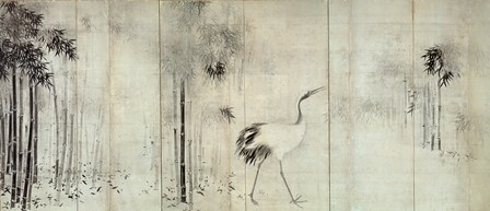 長谷川等伯「竹鶴図屏風」(左隻)〔桃山時代 出光美術館蔵〕