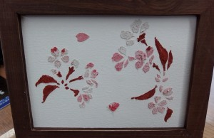 桜を選んだ私の作品。細かい柄に苦戦しました。