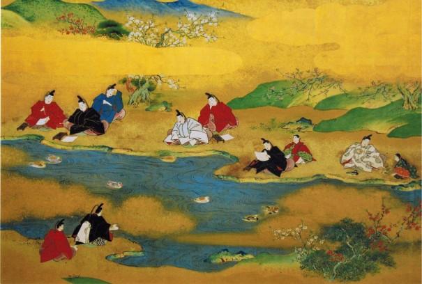 「曲水の宴図屏風」(部分)。貴族たちの優美な遊びを伝える名品。城南宮ではいまも春と秋に「曲水の宴」が開かれる。今年の秋は11月3日の開催。(『(城南宮)曲水の宴図屏風』写真提供=京都古文化保存協会)