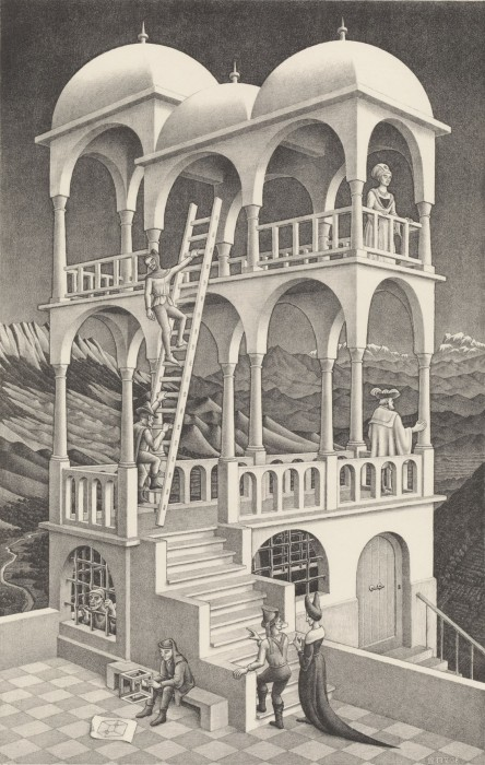 M.C.エッシャー《ベルベデーレ(物見の搭)》〔1958年〕All M.C.Escher woks copyright ©The M.C.Escher Company B.V. –Baarn-Holland.www.mcescher.com