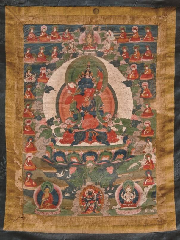 ドルジェ・チャン父母仏 タンカ〔18世紀後期 綿本彩色・鉱物顔料 ブータン王国国立博物館蔵〕