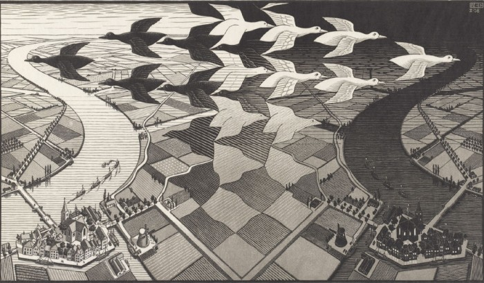 M.C.エッシャー《昼と夜》〔1938年〕All M.C.Escher woks copyright ©The M.C.Escher Company B.V. –Baarn-Holland.www.mcescher.com