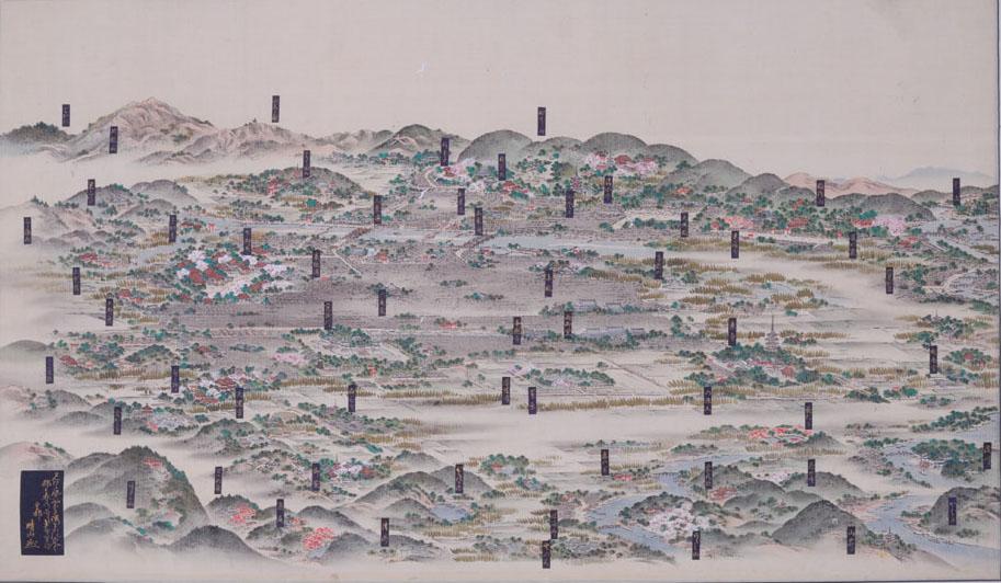 「皇都春景図」。江戸末期の京都の景観を描いた貴重な作品。(『(城南宮)皇都春景図』写真提供=京都古文化保存協会)