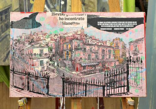 古山さんの万年筆画。アクリルを塗ったパネルに和紙を貼って、その上から万年筆で風景を描き込み、色鉛筆で着色している。