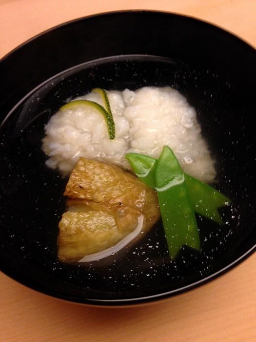 京都『浜作』の「鱧となすのお椀」