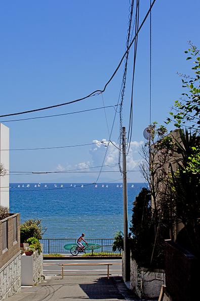 休日には沖合の白い帆も数を増す。