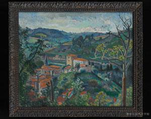 漱石が愛蔵し客間に飾っていた安井曽太郎の油彩画『麓の町』。漱石は「描写の密度が自分の小説と似ているのでピッタリくる」という感覚を抱いていたという。神奈川近代文学館所蔵