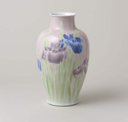 「釉下彩杜若文花瓶」宮川香山(初代) 1899年頃 個人蔵