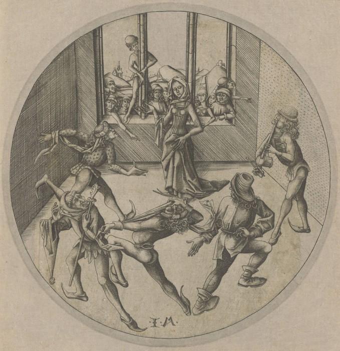 イスラエル・ファン・メッケネム《モリスカダンス》〔エングレーヴィング(技法) ミュンヘン州立版画素描館蔵〕Staatliche Graphische Sammlung München