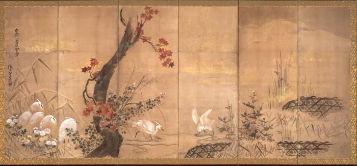 尾形乾山「四季花鳥図屏風」(左隻)江戸時代・寛保3(1743)年 大東急記念文庫