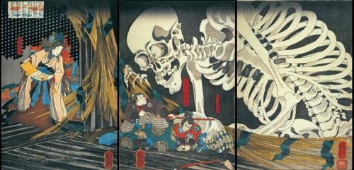 歌川国芳「相馬の古内裏」大判錦絵3枚続 弘化2~3年(1845~46)頃 個人蔵