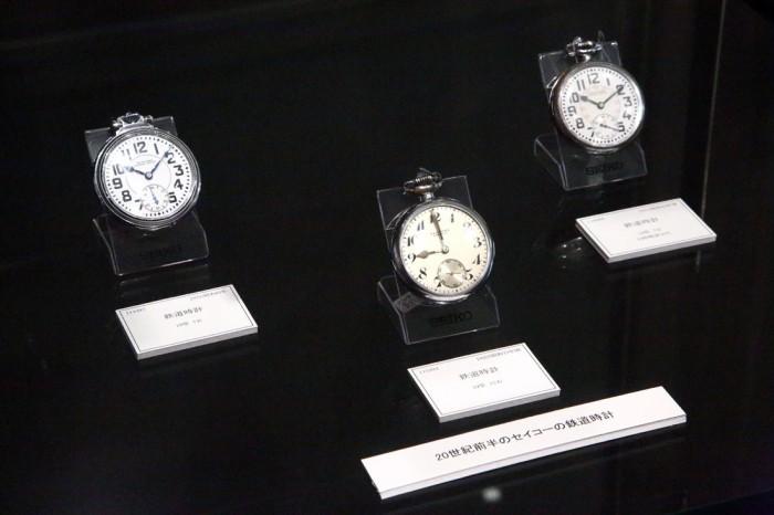 「セイコーミュージアム」(東京都墨田区)に展示されているセイコーの初代鉄道時計。文字盤の数字が見やすく、実用本位なデザインが特徴。