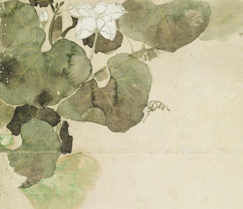 四季草花図屏風(部分) 喜多川相説筆 江戸時代 17世紀 根津美術館蔵