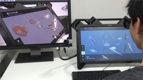 「グランドセイコー」のムーブメントの仕組みや動きを、三次元の立体視ディスプレイで観察できる。細やかな歯車が複雑に組み合わされ、時刻を刻んでいる様子がわかる。