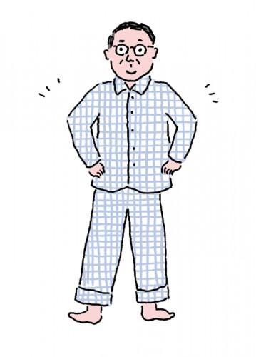 夏素材のパジャマを着る