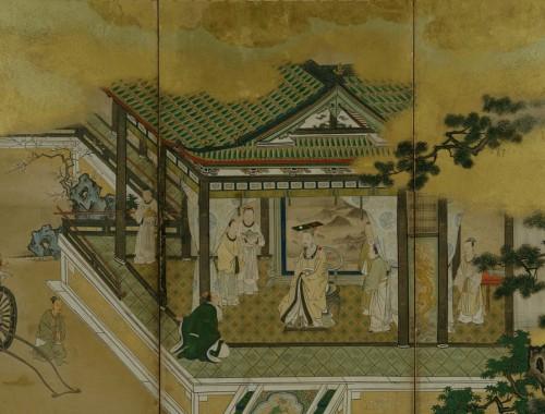 両帝図屏風(部分) 狩野探幽筆 江戸時代 寛文元年(1661) 根津美術館蔵
