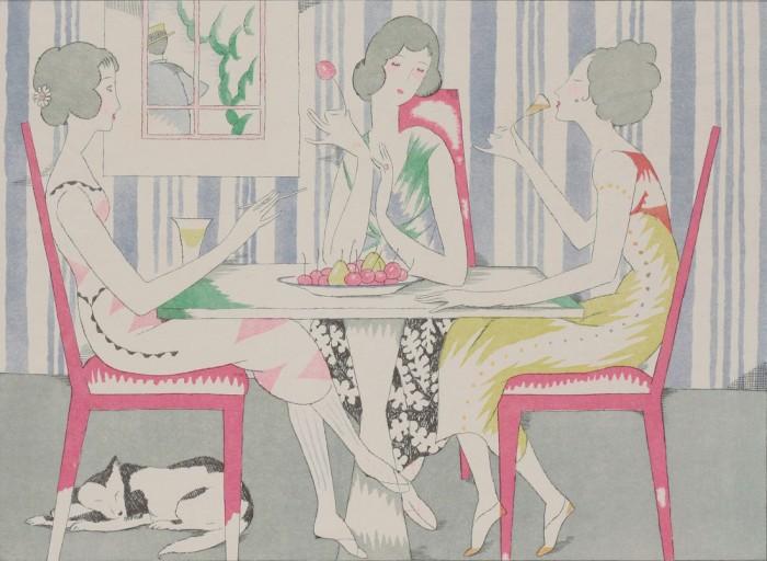 竹久夢二「涼しき装ひ」『三越』15巻第6号挿画 大正14(1925)年 個人蔵