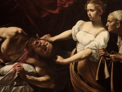「ホロフェルネスの首を斬るユディット」美女ユディットの眉間のしわはリアル。酔い潰れるとこんな目にあうのか。