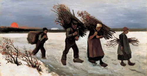 フィンセント・ファン・ゴッホ《雪原で薪を集める人々》〔1884年 吉野石膏株式会社蔵(山形美術館に寄託)〕