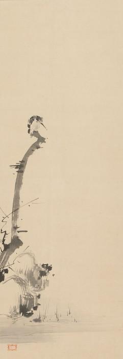 宮本武蔵筆「枯木翡翠図」(部分、3幅対のうち)〔江戸時代 岡山県立美術館蔵〕