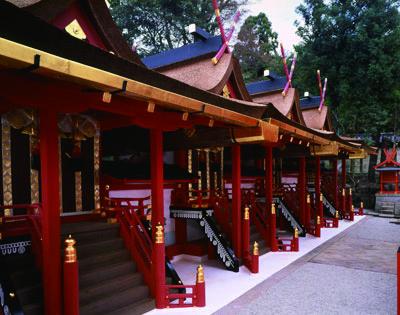御蓋山中腹に立つ4棟の本殿。式年造替の年に塗り替えられる。(撮影/桑原英文。第59次式年遷宮で撮影)