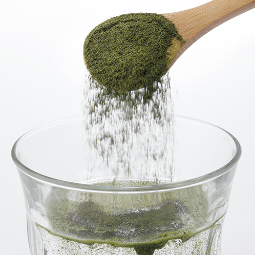 長く擂ると抹茶のような粉末となる。水にも溶けやすいので、そのまま水筒に入れて軽く振れば手軽に冷茶ができあがる。