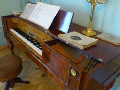 """プーシキン家の居間にはピアノがあった。ナターリャは美しい声を持ち、好んで歌を歌ったと伝えられる。音楽の絶えることのない家庭だったのだ。二冊の古くて分厚い楽譜の表紙にはこう書かれていた。「モーツァルト作曲""""ドン・ジョヴァンニ""""」「ベッリーニ作曲""""ノルマ""""」。"""