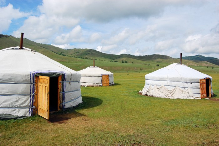 Little village of nomadic Yurt camp in the Mongolian Steppe at Terelj National Park