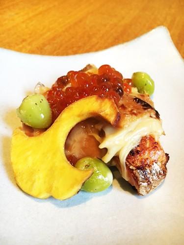 秋鮭と甘湯葉の焼き物。