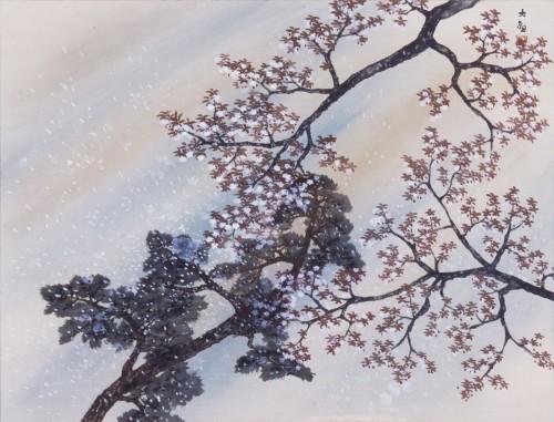 横山大観《雪「花吹雪」》〔第3回雪月花展(1954年) パラミタミュージアム蔵〕