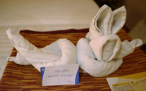 タオル細工のウサギ。