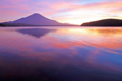 湖面の彩り,山中湖